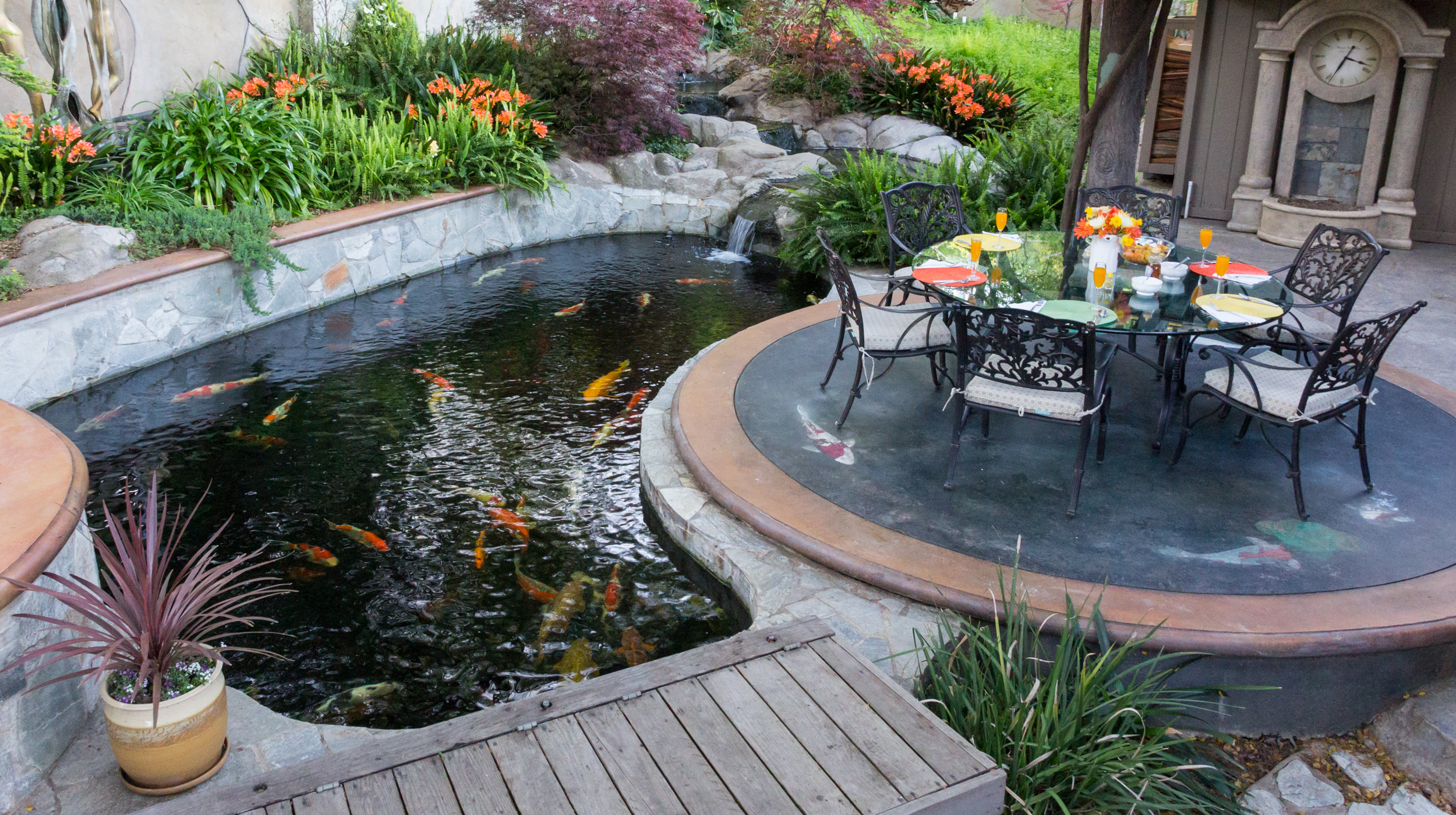 Backyard koi pond sacramento koi for Koi pond volume calculator
